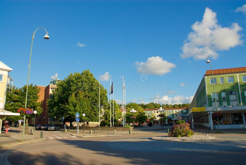 Vue au-dessus de secteur de logement dans Lerum, Suède photos stock
