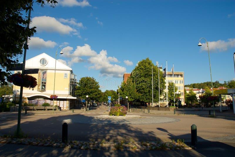 Vue au-dessus de secteur de logement dans Lerum, Suède image stock