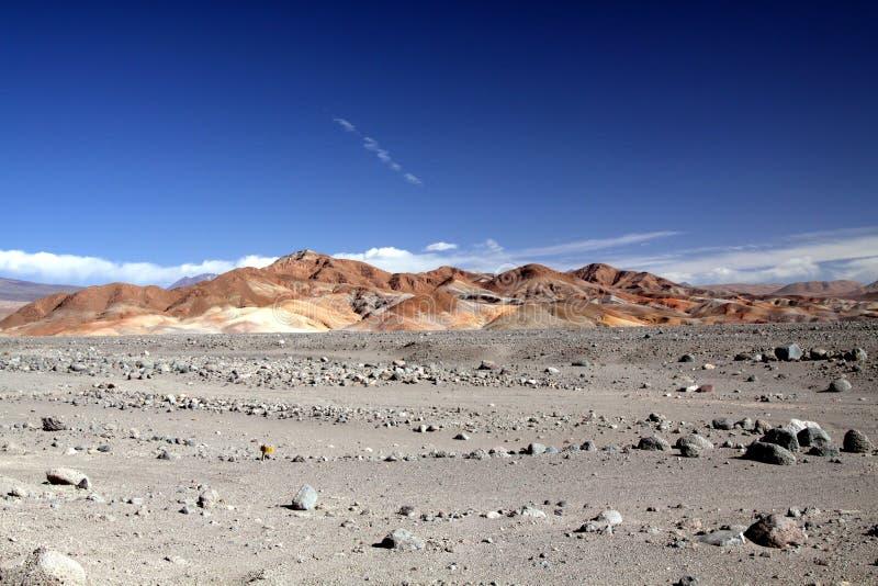 Vue au-dessus de terre en friche stérile pierreuse sur les collines rouges colorées différant du ciel bleu profond dans nulle par images libres de droits