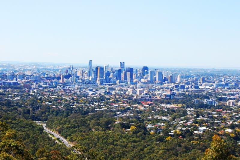 Vue au-dessus de ville de Brisbane et de banlieues, Queensland, Australie photos stock