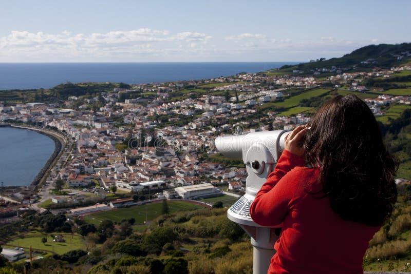 Vue au-dessus de ville de horta image libre de droits