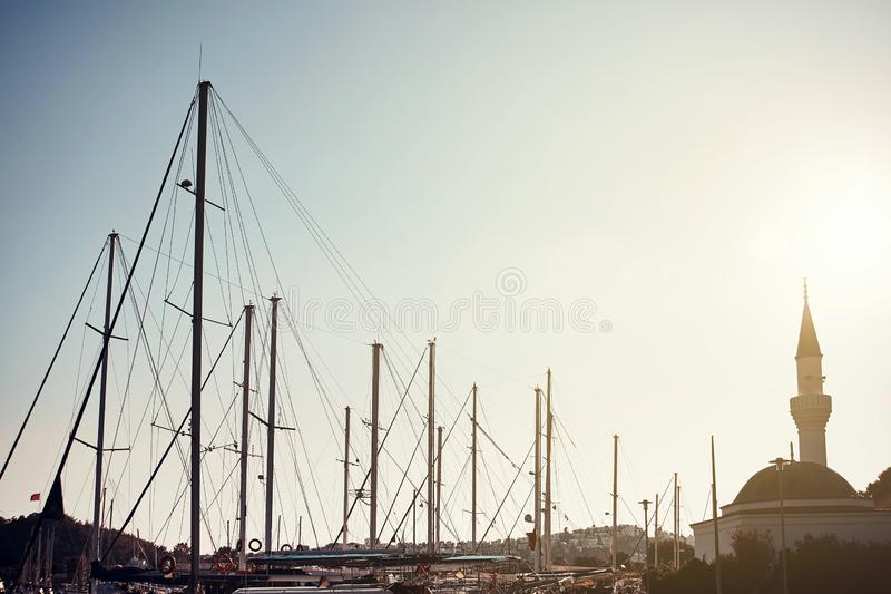 Vue au-dessus de ville et de port de Bodrum photo libre de droits