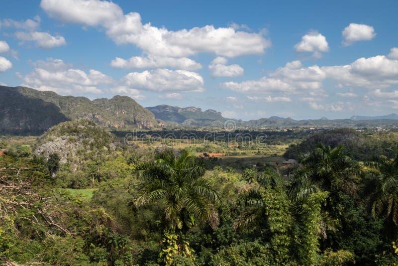 Vue au-dessus des champs de tabac de Vinales, Cuba photos stock