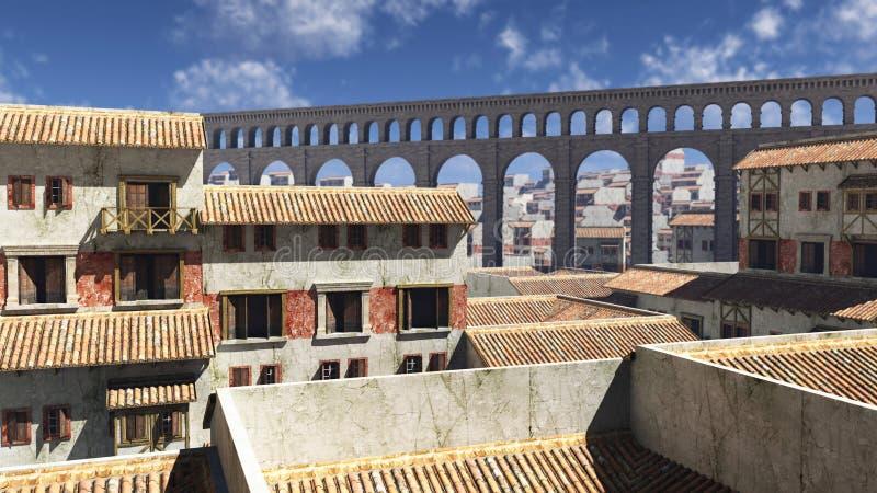 Vue au-dessus des dessus de toit romains antiques illustration de vecteur