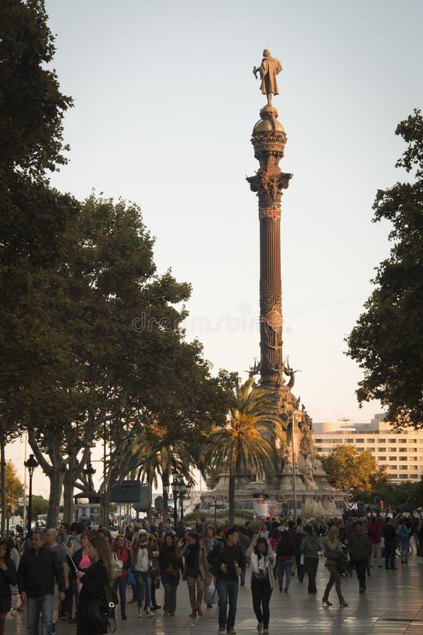 Vue au-dessus du Ramblas à Barcelone, Espagne image stock