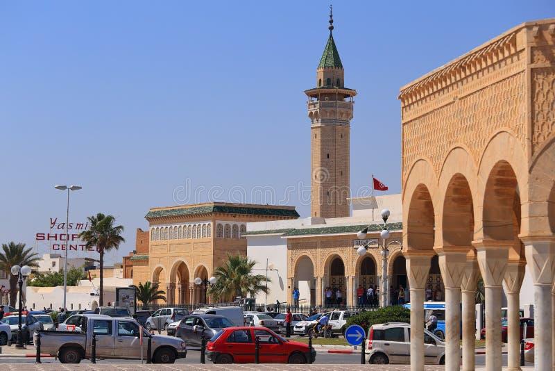 Vue au minaret de la mosquée de Bourguiba dans Monastir photos stock
