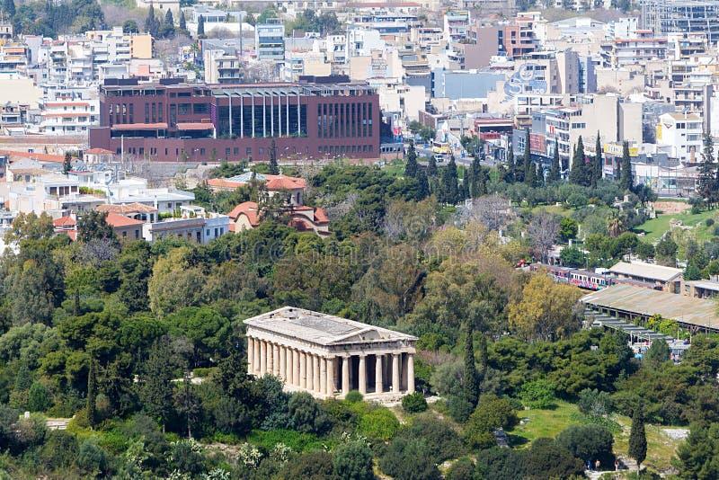 Vue au temple de Hephaestus de l'Acropole, Athènes, Grèce photos libres de droits