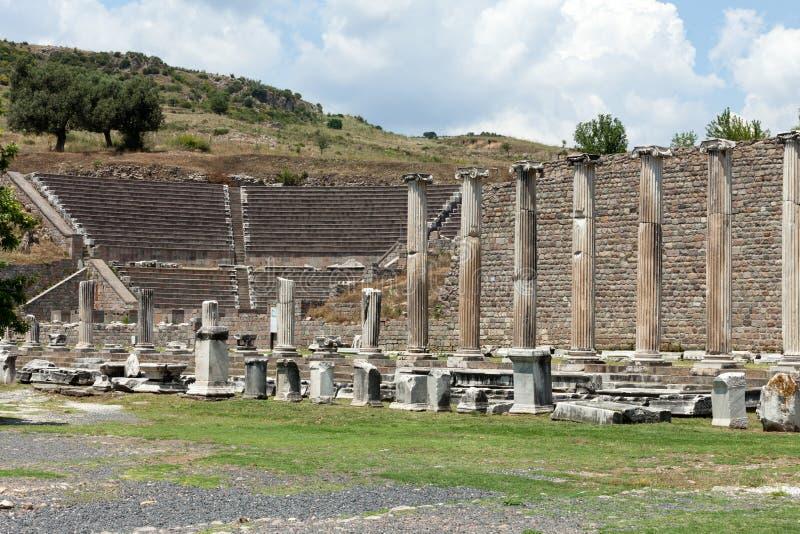 Vue au théâtre d'Asklepion Pergamum photos libres de droits