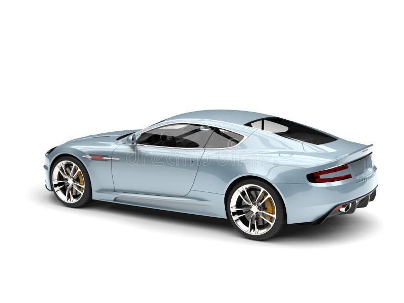 Vue automobile de luxe de queue de sports modernes bleu-clair métalliques illustration stock