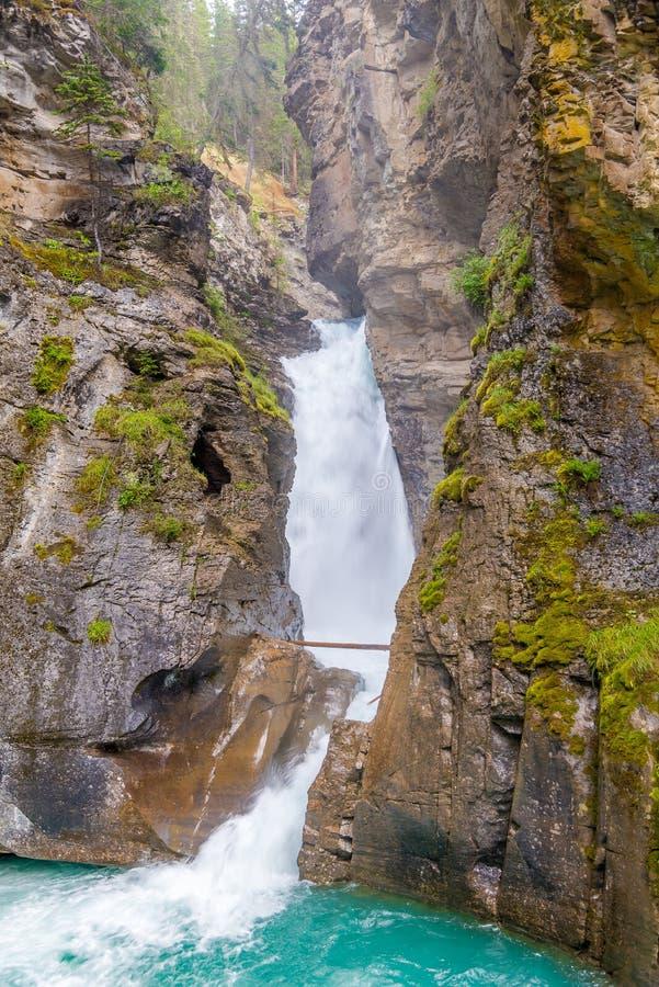 Vue aux automnes inférieurs en Johnston Canyon de parc national de Banff dans le Canadien Rocky Mountains - Canada photographie stock