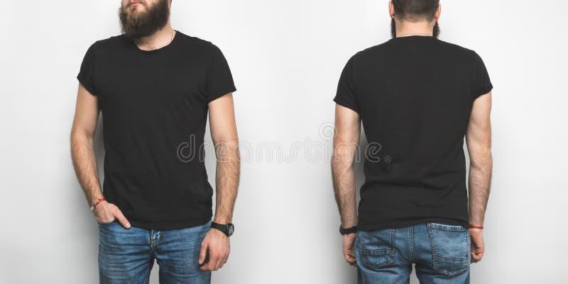 vue avant et arrière de l'homme dans le T-shirt noir photos libres de droits
