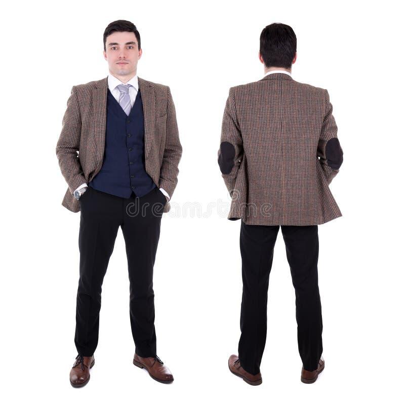 Vue avant et arrière du jeune homme bel d'affaires d'isolement sur W photos stock
