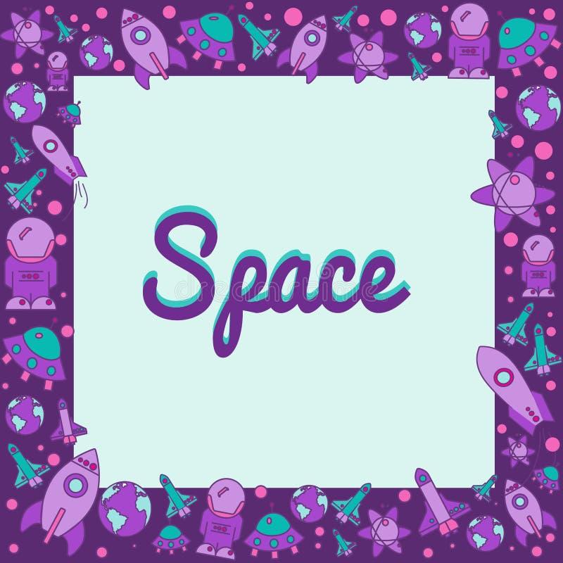 Vue avec des éléments de l'espace dans le style plat image libre de droits