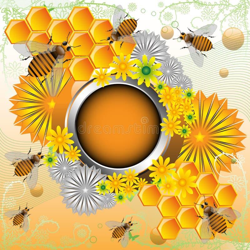 Vue avec des abeilles et des fleurs illustration stock