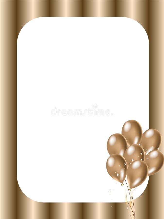 Vue avec des ballons d'or illustration libre de droits