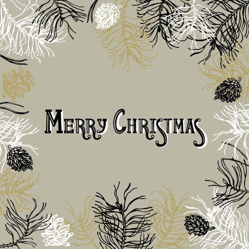 Vue avec des branches et des cônes de pin dans la couleur blanche, noire, d'or et argentée illustration stock