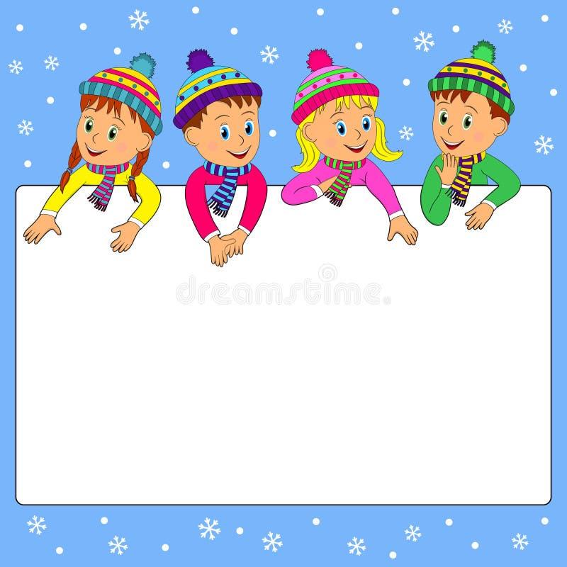 Vue avec des enfants sur un fond d'hiver illustration de vecteur