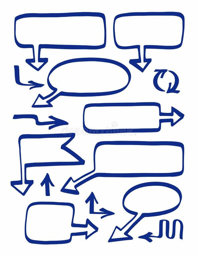 Vue avec des flèches, marqueur bleu, fond tiré par la main et blanc illustration stock