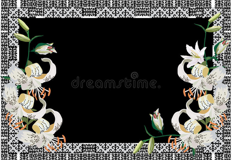 Vue avec des fleurs de lis blanc illustration stock