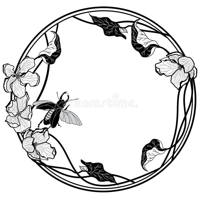 Vue avec des fleurs de mâle-scarabée et de pomme illustration libre de droits