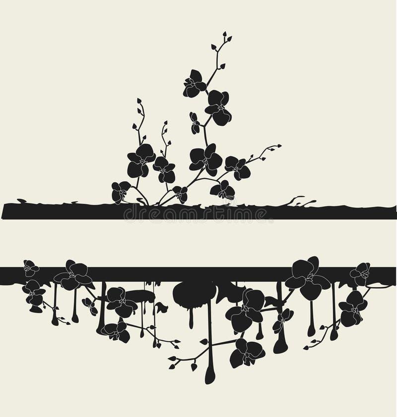 Vue avec des orchidées illustration de vecteur