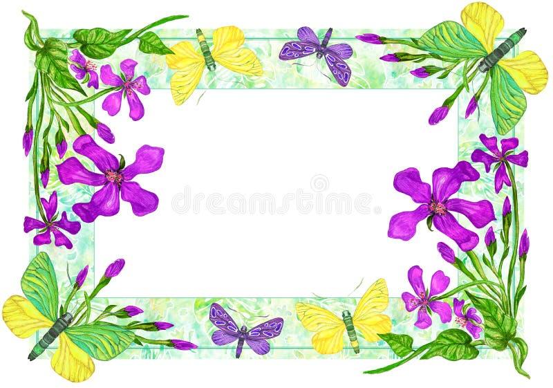 Vue avec des papillons et des fleurs, illustration d'aquarelle illustration de vecteur