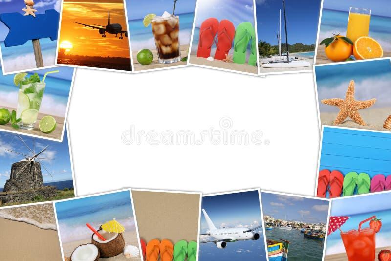 Vue avec des photos des vacances d'été, de la plage, des vacances et des copys image stock