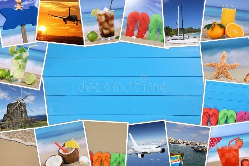 Vue avec des photos des vacances d'été, de la plage et du copyspace sur W photo libre de droits