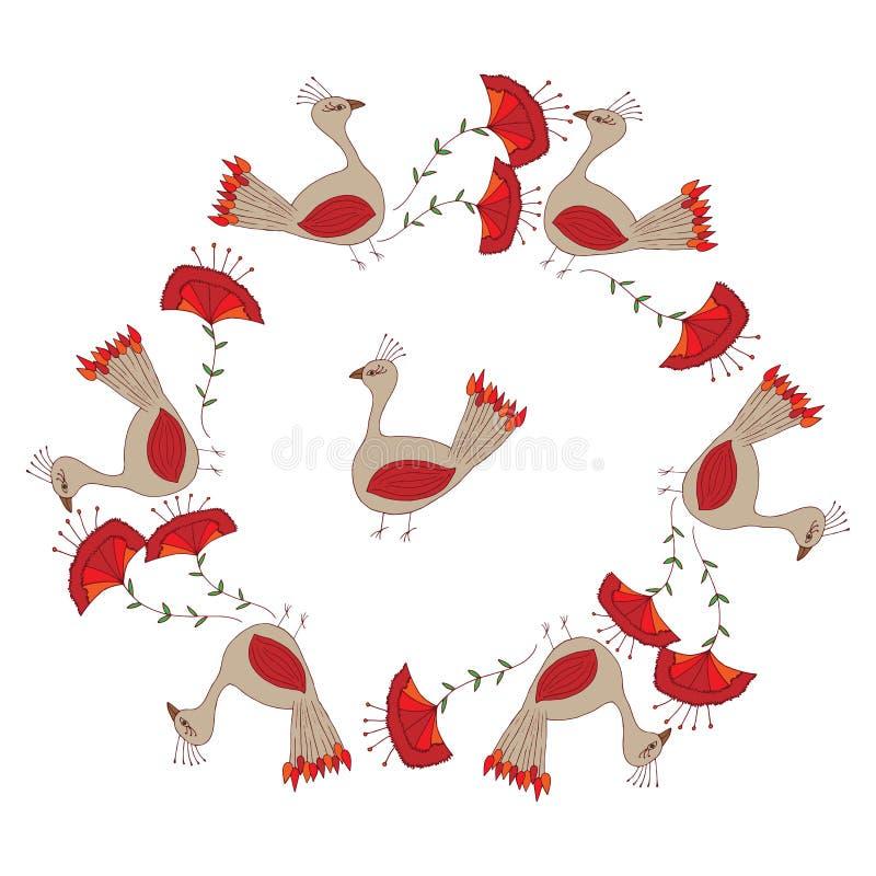 Vue avec l'oiseau et la fleur abstraits sur le fond blanc illustration de vecteur