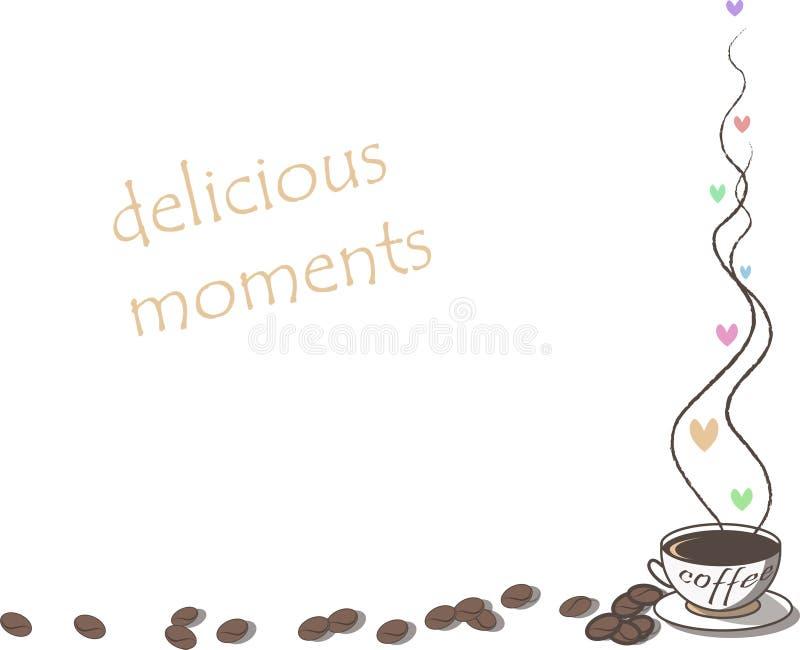 Vue avec la tasse de café et de coeurs illustration libre de droits