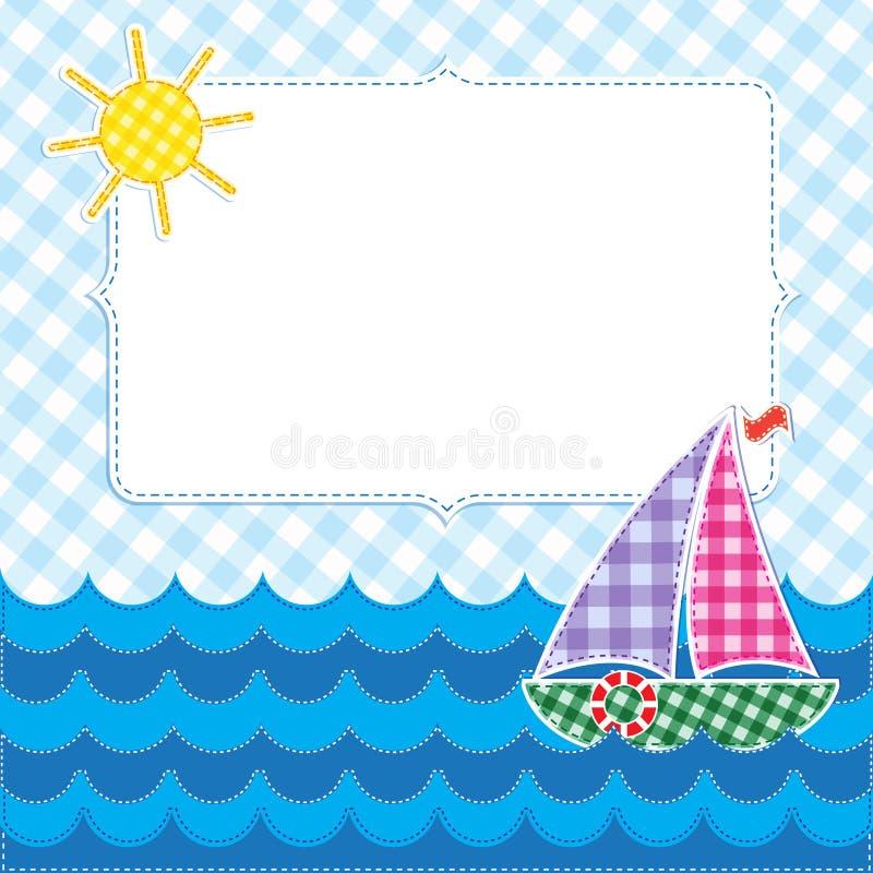 Vue avec le bateau à voiles coloré illustration de vecteur