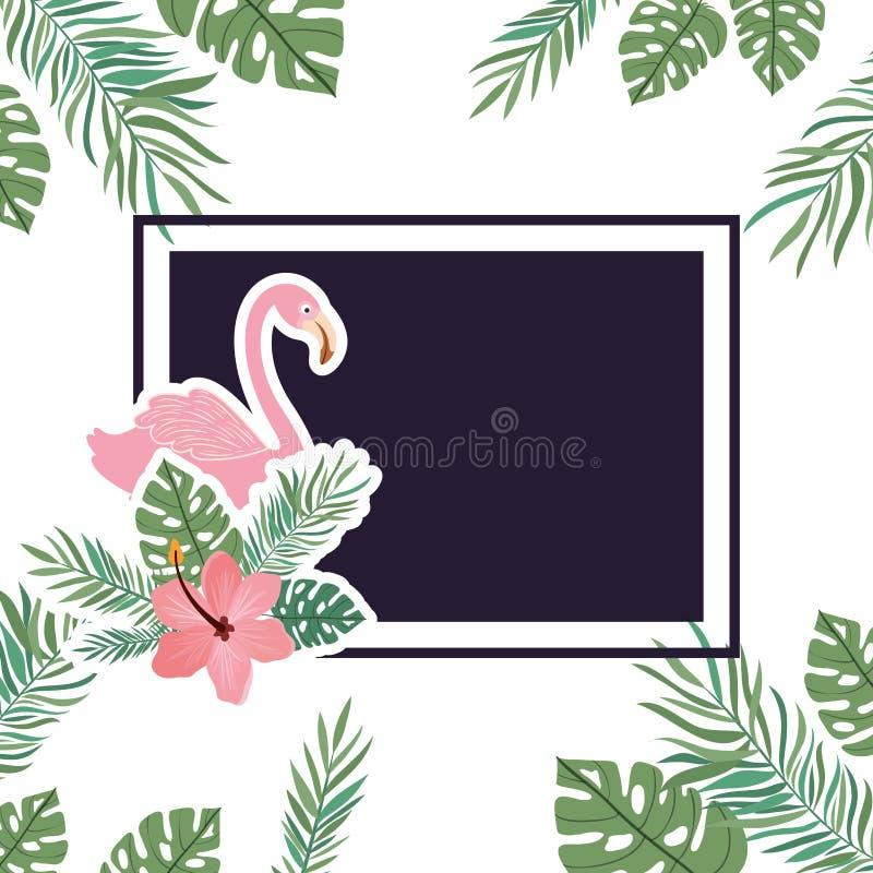Vue avec le Flamand et la fleur d'été illustration de vecteur