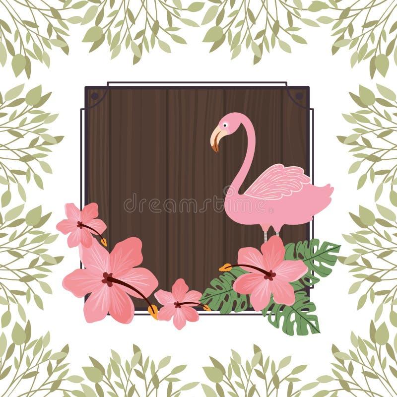 Vue avec le Flamand et la fleur d'été illustration stock