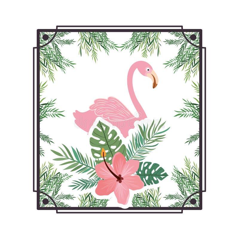 Vue avec le Flamand et la fleur d'été illustration libre de droits