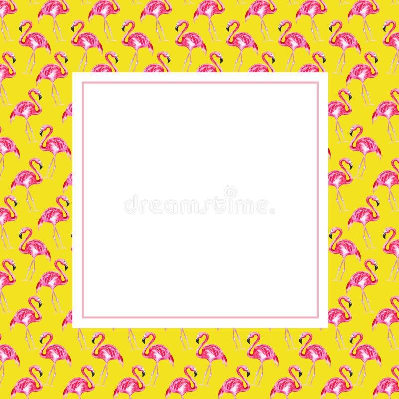 Vue avec le flamant rose sur un fond jaune image stock