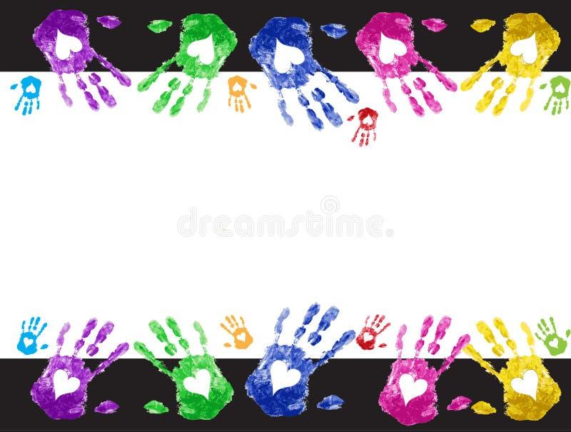 Vue avec le fond de vecteur d'impression de main d'amour illustration libre de droits