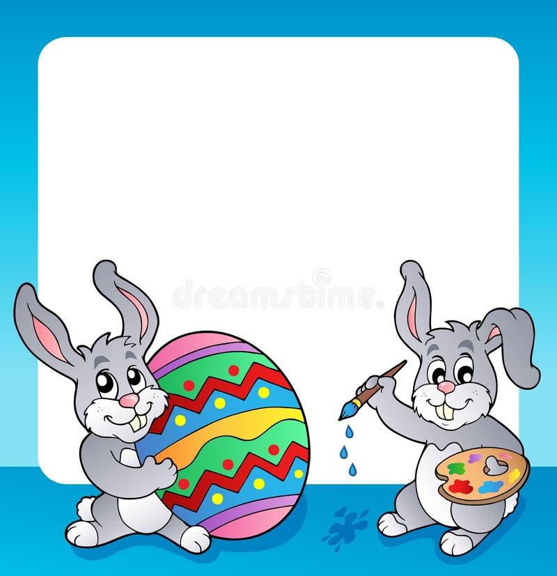 Vue avec le sujet 3 de lapin de Pâques illustration libre de droits