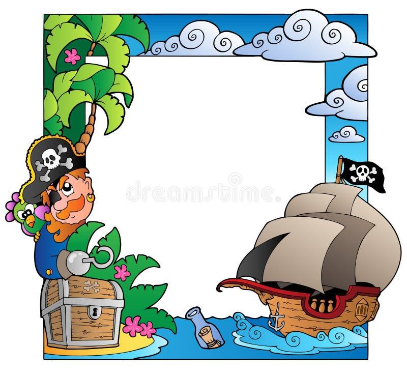 Vue avec le thème 2 de mer et de pirate illustration stock