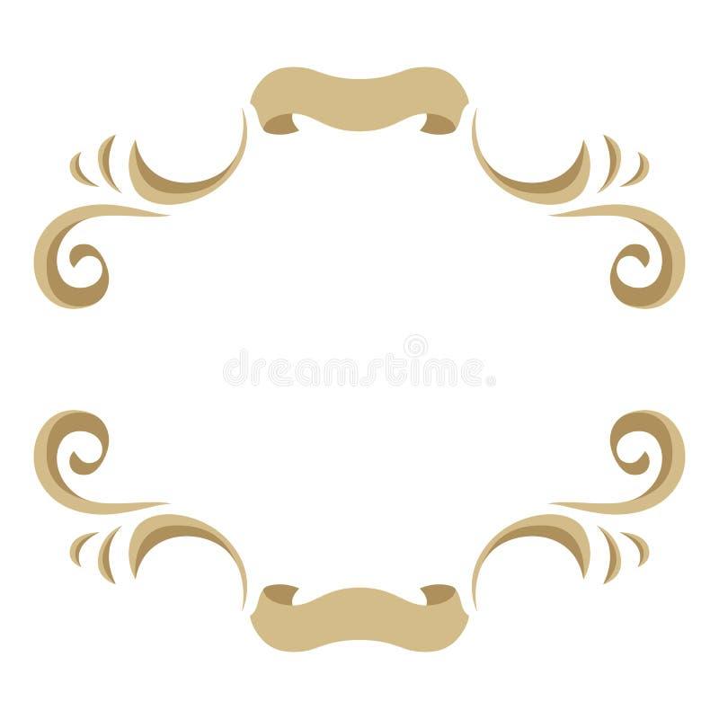 Vue avec les éléments floraux ornementaux d'or illustration stock