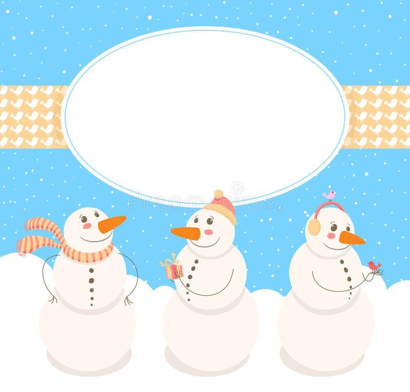 Vue avec les bonhommes de neige mignons illustration stock