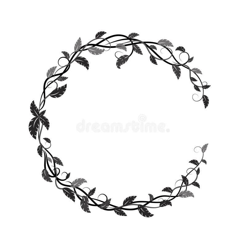 Vue avec les feuilles et les lianes tropicales noires et grises illustration de vecteur