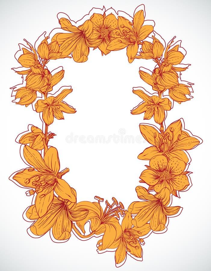 Vue avec les fleurs tirées par la main illustration libre de droits