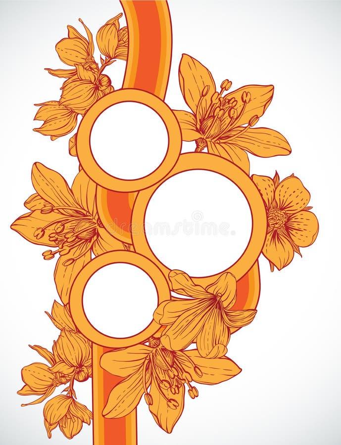 Vue avec les fleurs tirées par la main illustration de vecteur