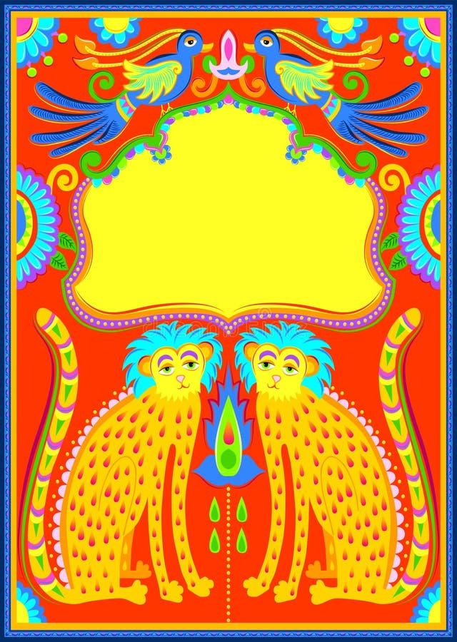 Vue avec les oiseaux, le guépard et les fleurs dans le style de kitsch d'art de camion illustration libre de droits