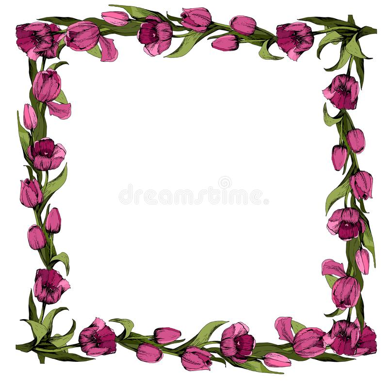 Vue avec les tulipes roses color?es Humeur de source Conception des mat?riaux imprim?s Illustration illustration de vecteur