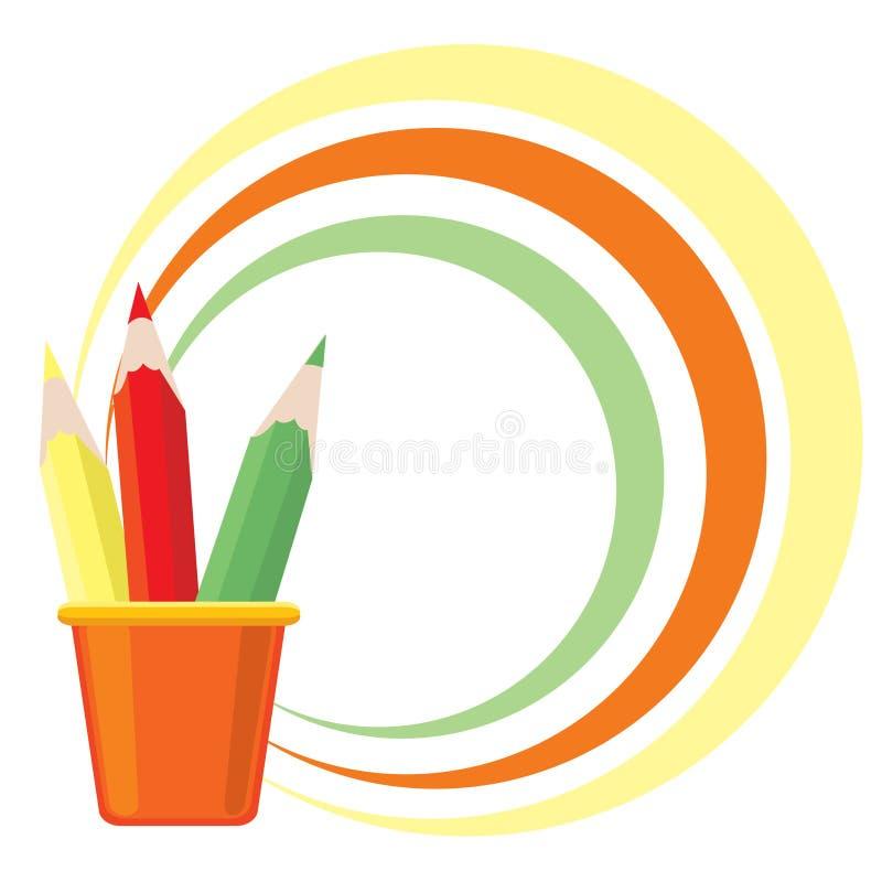 Vue avec trois crayons de couleur illustration stock
