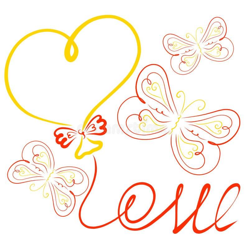 Vue, ballon sous forme de coeur, le mot AMOUR du illustration stock