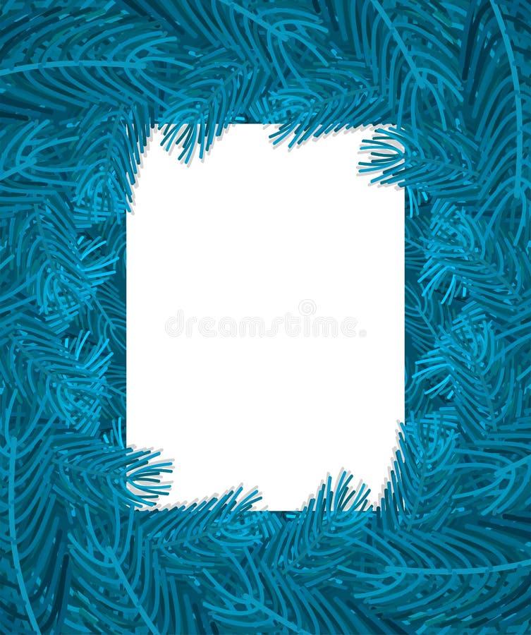 Vue bleue de branches d'arbre de Noël Branche de fond de Noël de pi illustration stock