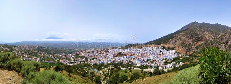Vue bleue de panorama du Maroc Afrique de ville de Chefchaouen photographie stock
