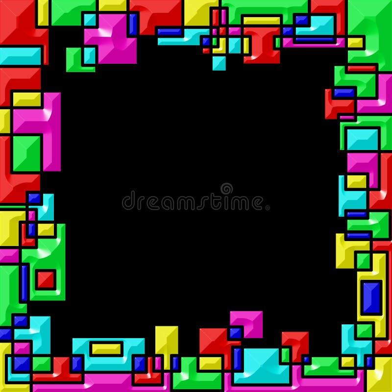 Vue, bords colorated du recouvrement géométrique de formes Fond noir illustration libre de droits